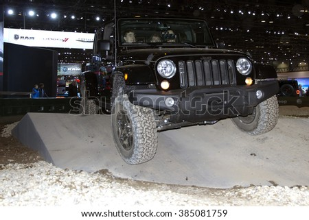CHICAGO, IL - FEBRUARY 15: Jeep Wrangler 2016 at the annual International auto-show, February 15, 2016 in Chicago, IL