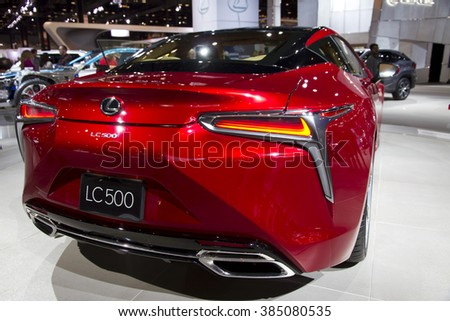 CHICAGO, IL - FEBRUARY 15: Lexus LC500 2017 at the annual International auto-show, February 15, 2016 in Chicago, IL
