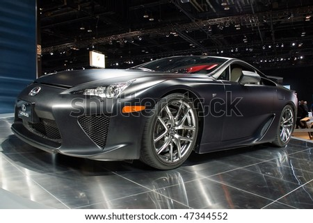 CHICAGO, IL - FEBRUARY 21: Lexus LFA model 2010 at the International auto-show, February 21, 2010 in Chicago, IL - stock photo