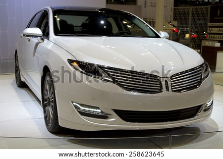 CHICAGO, IL - FEBRUARY 15: LINCOLN MKS at the annual International auto-show, February 15, 2015 in Chicago, IL - stock photo