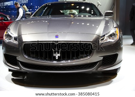 CHICAGO, IL - FEBRUARY 15: Maserati Quattroporte 2016 at the annual International auto-show, February 15, 2016 in Chicago, IL
