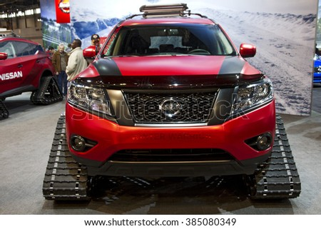 CHICAGO, IL - FEBRUARY 15: Nissan Murano Winter Warrior Concept vehicle  at the annual International auto-show, February 15, 2016 in Chicago, IL