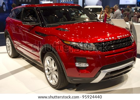 CHICAGO, IL - FEBRUARY 19: Range Rover 2013 car at the annual International auto-show, February 19, 2012 in Chicago, IL - stock photo