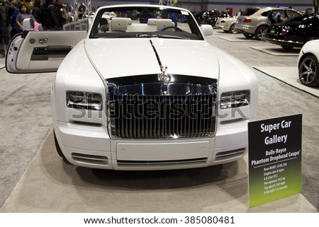 CHICAGO, IL - FEBRUARY 15: Rolls-Royce Phantom Drophead Coupe at the annual International auto-show, February 15, 2016 in Chicago, IL