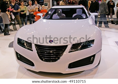 CHICAGO, IL - FEBRUARY 10: Saab concept model at the International auto-show, February 10, 2008 in Chicago, IL - stock photo