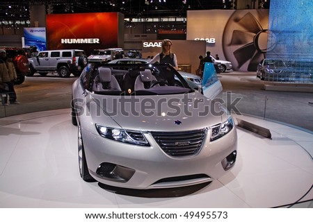 CHICAGO, IL - FEBRUARY 15: Saab 2009 model at the International auto-show, February 15, 2009 in Chicago, IL - stock photo