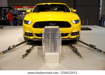 CHICAGO, IL - FEBRUARY 15: Shelby GT350 Mustang at the annual International auto-show, February 15, 2015 in Chicago, IL - stock photo