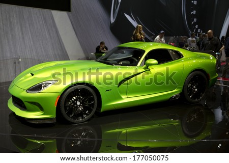 CHICAGO, IL - FEBRUARY 8: SRT Viper at the annual International auto-show, February 8, 2014 in Chicago, IL - stock photo