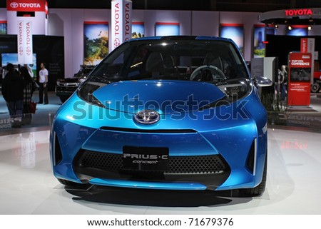 CHICAGO, IL - FEBRUARY 20: Toyota concept model of Prius at the International auto-show on February 20, 2011 in Chicago, IL - stock photo