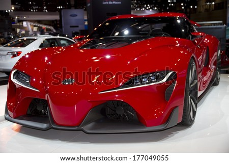 CHICAGO, IL - FEBRUARY 8: Toyota FT-1 at the annual International auto-show, February 8, 2014 in Chicago, IL - stock photo