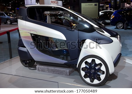 CHICAGO, IL - FEBRUARY 8: Toyota iRoad at the annual International auto-show, February 8, 2014 in Chicago, IL