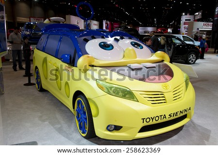 CHICAGO, IL - FEBRUARY 15: TOYOTA SPONGEBOB SIENNA LIMITED at the annual International auto-show, February 15, 2015 in Chicago, IL