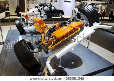 CHICAGO, IL - FEBRUARY 15: VOLVO truck chassis at the annual International auto-show, February 15, 2016 in Chicago, IL