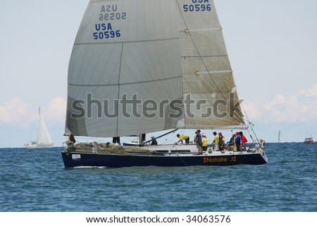 CHICAGO, IL - JULY 18: 101st Race to Mackinac, the world's longest annual freshwater distance race began on July, 18, 2009 off Navy Pier, in Chicago.