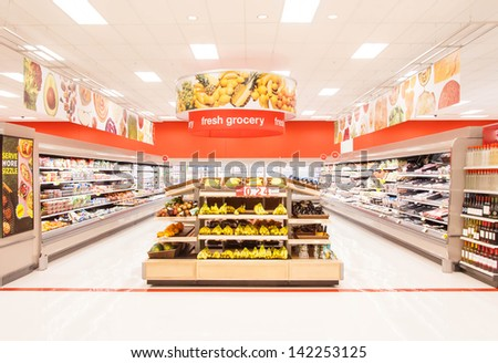CHICAGO, IL JUNE 4: A newly design supermarket selling fresh grocery and frozen items on June 4th 2013 . Consumption of fresh produce is on the rise due to growing health awareness.  - stock photo