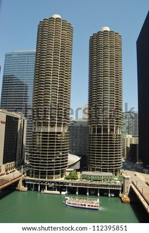CHICAGO, IL - JUNE 25:  Marina City is a complex of two 60-story towers built in 1964  on June 07, 2011 in Chicago, USA.  Apartments, offices, restaurants, banks, theater,18 stories of parking space.