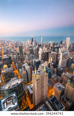 CHICAGO, IL - March 7, 2015: Chicago skyline at sunset, Illinois, US - stock photo