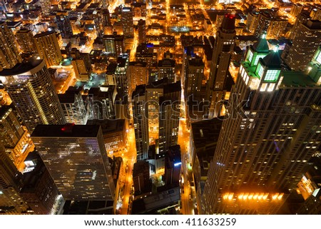 CHICAGO, IL - MARCH 28, 2016: view of Chicago from John Hancock Center. Chicago is a major city in the United States of America