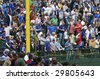 CHICAGO, IL - May 5: Fans cheering near the left field foul pole during the Chicago Cubs vs. San Francisco Giants game at Wrigley Field May 5, 2009 in Chicago, IL. - stock photo