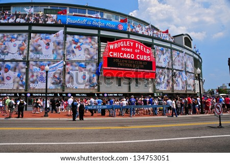CHICAGO,IL - MAY 20 : The Wrigley Field Baseball Stadium is Home of the Chicago Cubs since 1916. It can sit 41019. It also hosted The National Hockey League Winter Classic on january 1st, 2009. - stock photo