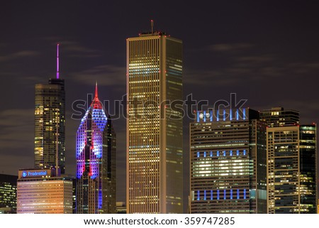 CHICAGO, IL: November 11 2015 - Chicago skyline at night.