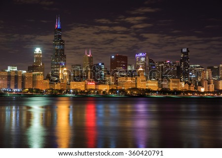 CHICAGO, IL: November 11 2015 - Chicago skyline at night. - stock photo
