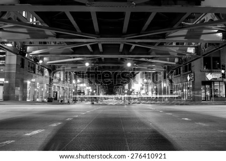 CHICAGO, IL - OCT 5: Chicago downtown at night on October 5, 2011 in Chicago, Illinois. Chicago is the third most populous city in the United States, after New York City and Los Angeles - stock photo