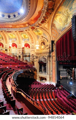 CHICAGO, IL - OCT. 6: Chicago Theatre interior view on October 6, 2011 in Chicago, Illinois. The iconic Chicago Theatre marquee appears in film, television, artwork, and photography as city landmark. - stock photo