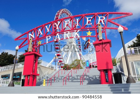 CHICAGO, IL - OCT 1: Navy Pier and skyline on October 1, 2011 in Chicago, Illinois. It was built in 1916 as 3300 foot pier for tour and excursion boats and is Chicago's number one tourist attraction. - stock photo