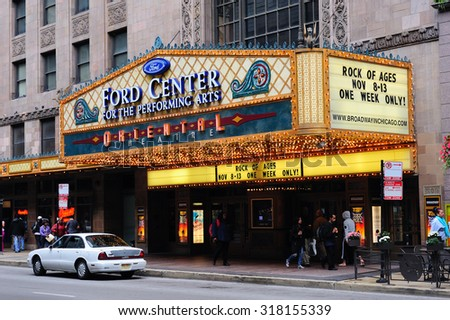 CHICAGO, IL - Oct 6: Oriental Theatre and street on October 6, 2011 in Chicago, Illinois. It is listed on the National Register of Historic Places as the famous landmark of Chicago Theater District. - stock photo