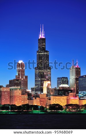 CHICAGO, IL - OCT 1: Willis tower close up on October 1, 2011 in Chicago, Illinois. Willis Tower know as the famous landmark is 1451 feet high as the world's tallest for 25 years since its completion. - stock photo