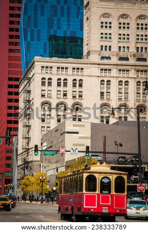 CHICAGO, IL - OCTOBER 13: Downtown Chicago Modern Architecture, and Lifestyle on october 13 , 2014 in Chicago,USA. Chicago has prominent buildings in a variety of styles by many famous architects. - stock photo