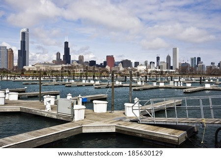 Chicago, IL seen from empty marina