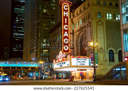 CHICAGO, IL - SEP 15: The famous Chicago Theater on State Street at night on September 15, 2014 in Chicago, Illinois. Opened in 1921, the theatre was renovated in the 1980's. - stock photo