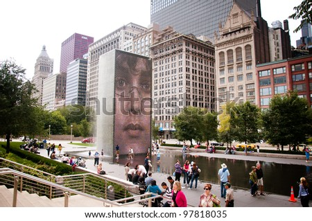 CHICAGO,IL - SEPT. 20: The Jaume Plensa's Crown fountain on September 20, 2009 in Millennium Park, Chicago, Illinois. An interactive work of public art and video sculpture featured. - stock photo