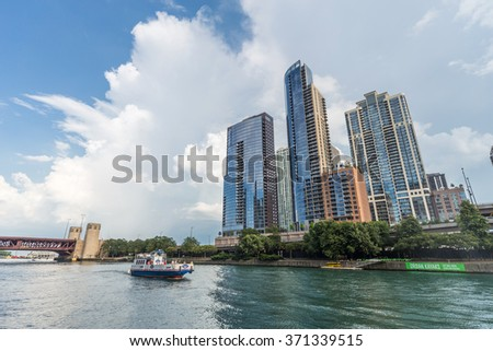 Chicago, IL/USA - circa July 2015: High-rise Luxurious Residential Buildings in Downtown Chicago along River Esplanade, Illinois