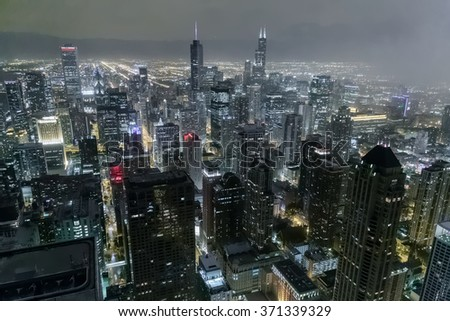 Chicago, IL/USA - circa July 2015: View of Downtown Chicago from John Hancock Center - stock photo
