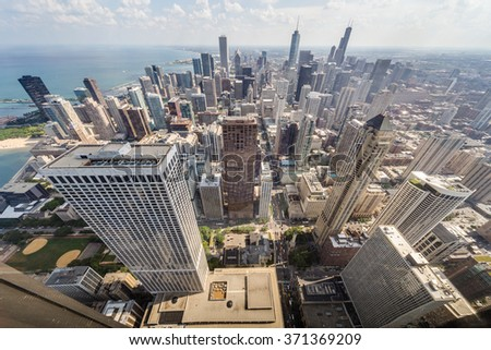 Chicago, IL/USA - circa July 2015: View of Downtown Chicago from John Hancock Tower - stock photo