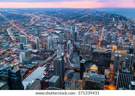 Chicago, IL/USA - circa July 2015: View of Downtown Chicago from Willis Tower - stock photo