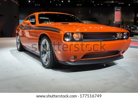 CHICAGO, IL/USA, - FEB 8: A 2013 Dodge Challenger R/T Redline Hemi on display at the Chicago auto show, on February 8, 2013 in Chicago, Illinois. - stock photo