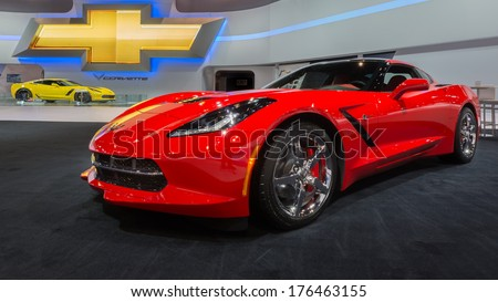CHICAGO, IL/USA - FEBRUARY 7: A 2014 Chevrolet (Chevy) Corvette car at the Chicago Auto Show (CAS) on February 7, 2014, in Chicago, Illinois. - stock photo
