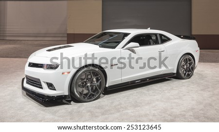 CHICAGO, IL/USA - FEBRUARY 12, 2015: 2015 Chevrolet Camaro Z/28 car at the Chicago Auto Show (CAS), the largest auto show in North America. - stock photo