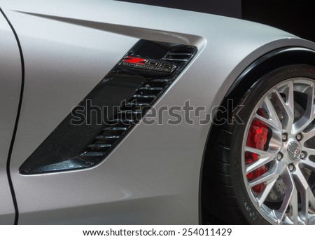 CHICAGO, IL/USA - FEBRUARY 13, 2015: 2015 Chevrolet Corvette Z06 car at the Chicago Auto Show (CAS), the largest auto show in North America. - stock photo