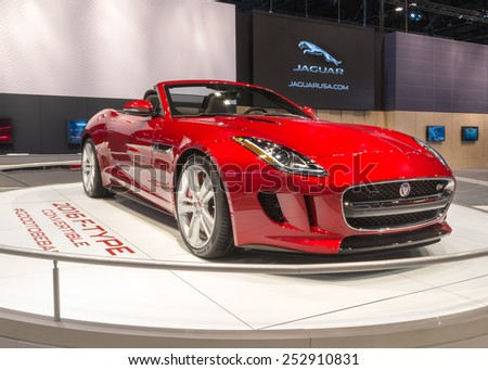CHICAGO, IL/USA - FEBRUARY 12, 2015: 2016 Jaguar F-Type car at the Chicago Auto Show (CAS), the largest auto show in North America. - stock photo