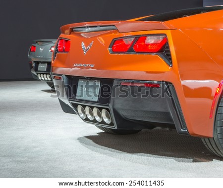 CHICAGO, IL/USA - FEBRUARY 12, 2015: Two 2015 Chevrolet Corvette cars at the Chicago Auto Show (CAS), the largest auto show in North America. - stock photo