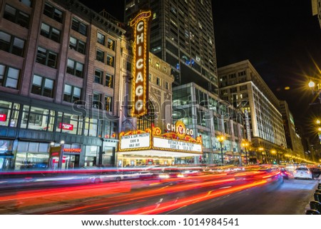 CHICAGO, IL, USA - January 13, 2018: The iconic Chicago Theatre on a cold winter night.