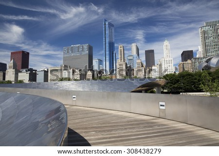 CHICAGO,IL/USA - JUNE 16: Public BP walkway in Millenium park on June 16 2015 in Chicago, IL. Millenium Park is the second most popular public attraction in the city of Chicago.