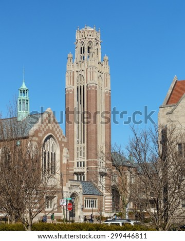 CHICAGO, IL, USA - MARCH 12, 2015: University of Chicago Campus in the Hyde Park area of Chicago, IL, USA on March 12, 2015. - stock photo