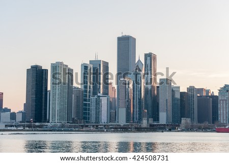 CHICAGO, ILLINOIS - APRIL 17, 2016: Chicago Michigan Lake and Business District, Downtown, Skyscraper - stock photo