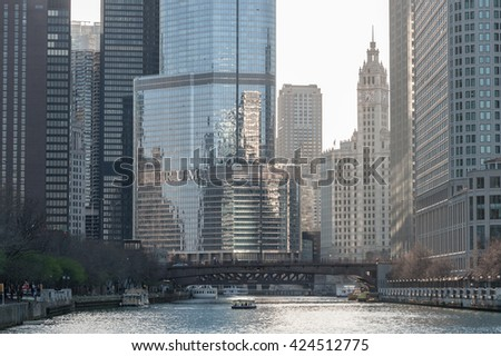 CHICAGO, ILLINOIS - APRIL 17, 2016: Chicago Skyscraper, Downtown. Business District. Trump Building - stock photo